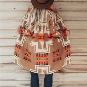 Boho Western Print Native Peacoat Camel Orange